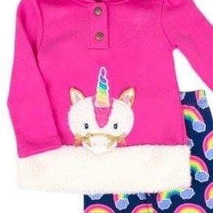 Nannette Matching Sets - Nannette Pink Unicorn Hoodie & Rainbow Legging Set